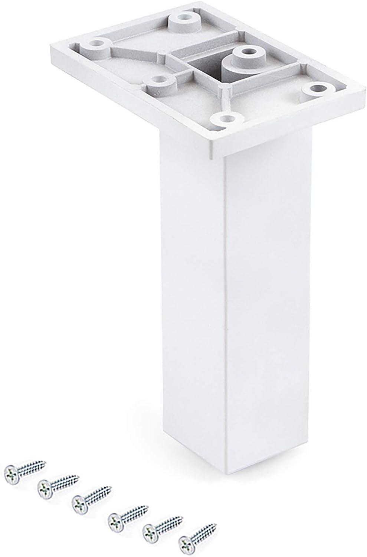 Emuca 2023612 feet, Furniture White Plastic, Set of 2 Central Le