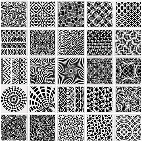 Pimoys-25 Pack(6 x 6 Inch) Geometric Stencils Reusable Pattern Templates for Painting on Scrapbooking Cookie Tile Wood Furniture Wall Floor Decor Craft Drawing DIY Art Supplies