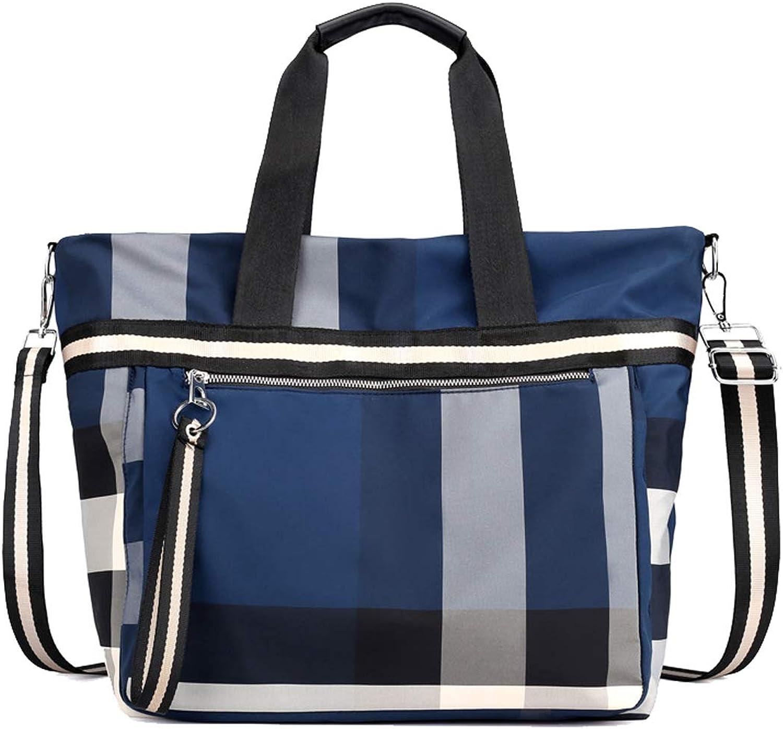Degohome Women Waterproof Large Capacity MultiPocket Tote Shoulder Bags Ladies Grid Handbags
