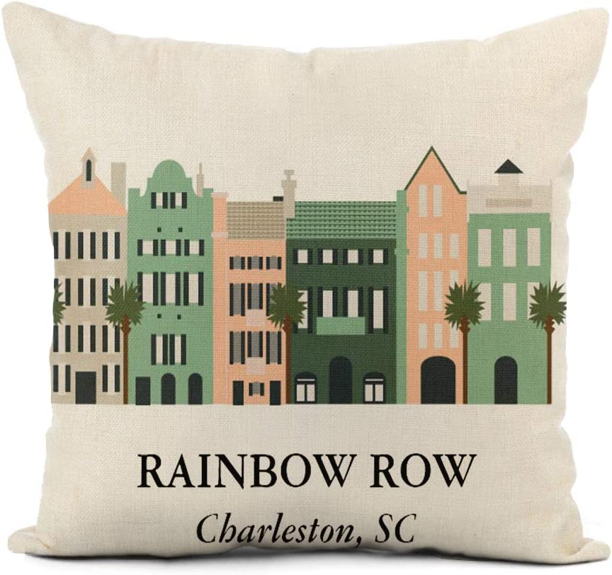 Topyee Throw Pillow Cover 16x16 Inch Bridesmaid Rainbow Row Charleston South Carolina Bow Palmetto Tree Home Decor Pillowcases Square Pillow Cases Cushion Covers for Sofa Couch Bed