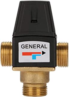 Thermostatic Mixing Valve DN20 Male Thread Brass High Flow Hot and Cold Water Thermostatic Mixing Valve for Solar Water Heater 35-60℃ Temperature Range