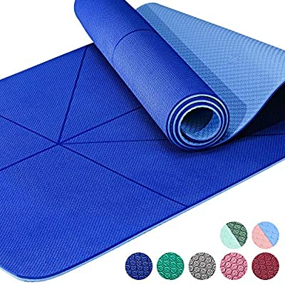 """JELSYOGA 6mm Exercise Yoga Mats Non Slip for Women with Alignment Pilates Mat with Carrying Strap Workout mats for Home Fitness Gym Mat (72"""" Long &26"""" wide1/4 inch Thick)"""