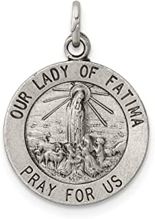 925 Sterling Silver Our Lady Of Fatima Medal Pendant Charm Necklace Religious Fine Jewelry Gifts For Women For Her