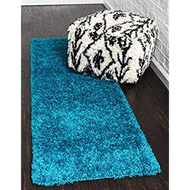 Unique Loom Solo Solid Shag Collection Modern Plush Turquoise Runner (2' x 6')