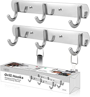 AIEVE Grill Hooks for Utensils,Heavy Duty Hanger Gear Trax Combo Kit for Char-Broil Grill Hanging Grilling and Cooking Ute...