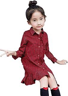 JIANGWEI 子供服 女の子 シャツワンピース チェック柄 長袖 ボタン折り襟 ボタンダウンガールズ フレアワンピース カジュアル 可愛い 人気 おしゃれ