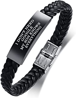 MEALGUET I Don't Need Google My Son Knows Everything Bracelet Braided Leather Wristband for Son, Funny Gift for Son from Mom or Dad