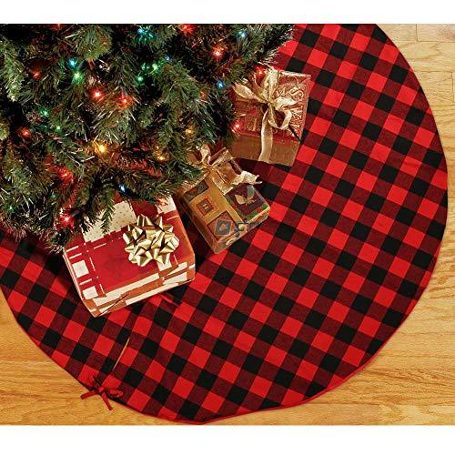 Hokic Buffalo Falda de árbol de Navidad de 48 Pulgadas de algodón, Color Rojo y Negro con diseño de Cuadros de búfalo para árbol de Navidad, decoración de Navidad