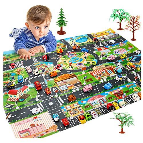 Shenye Interaktives Eltern-Kind-Spielfeld - Kinderstadt, Baby Kinder weiche Baumwollmatte, Crawling-Aktivität, Eltern-Kind-interaktiver Spielteppich, Giant Outdoor Spiele, Familienspiel (Grün)