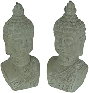 Three Hands Corp. Set of 2 Grey Stone Finish Cement Buddha Bust Bookend Statues