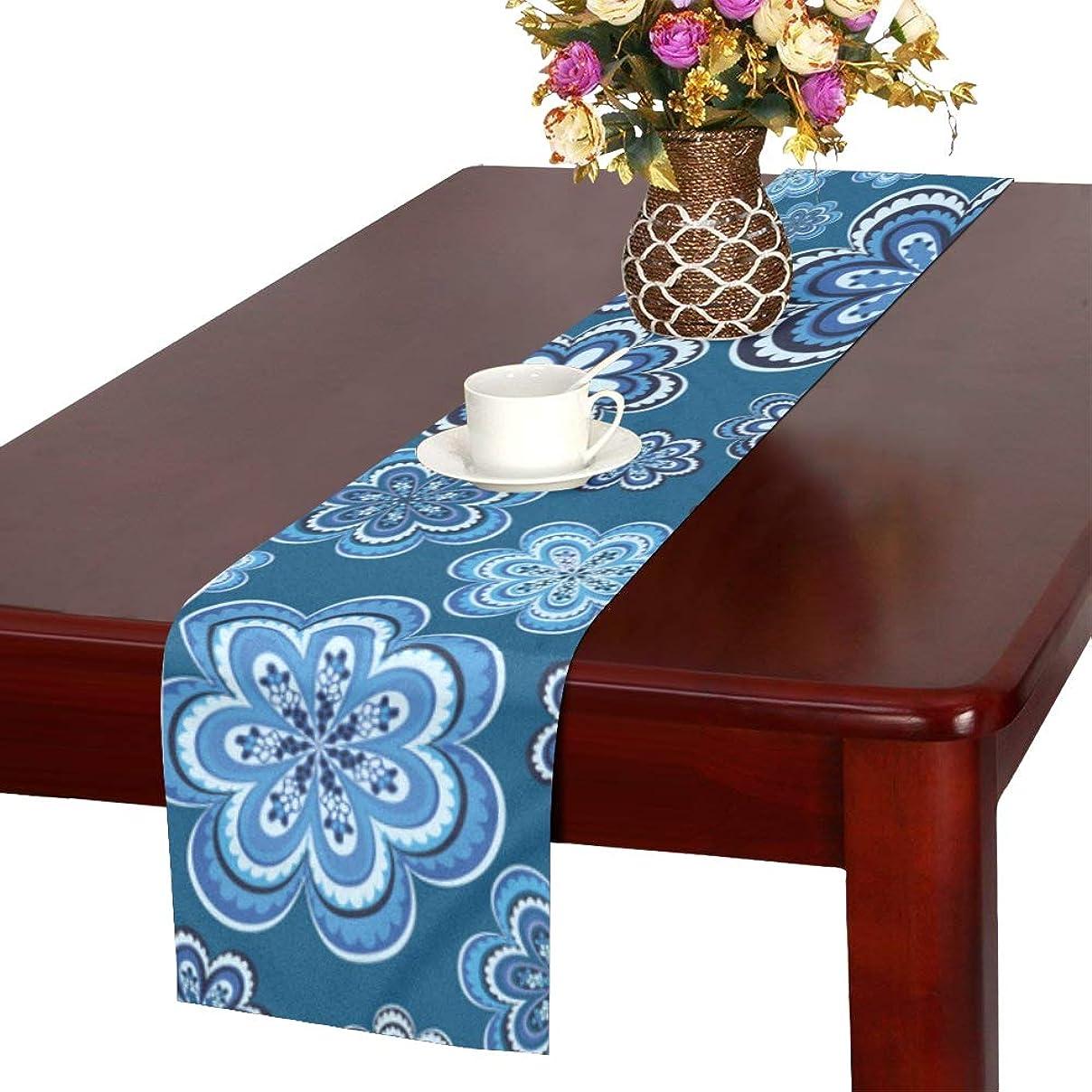 再生的流星軽蔑するLKCDNG テーブルランナー ブルー きれい 和風の花 クロス 食卓カバー 麻綿製 欧米 おしゃれ 16 Inch X 72 Inch (40cm X 182cm) キッチン ダイニング ホーム デコレーション モダン リビング 洗える