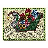Kit de Alfombra de Gancho, Bordado Punto de Cruz Cojín Decoración para El Hogar, 52 x 38 cm (Color : Christmas)