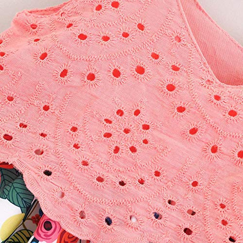 Julhold Summer Toddler Kids Baby Girl Lindo Moda Encaje Sin Mangas Impresión Floral Princesa Vestidos Largos Vestidos 0-4 Años Rosa 3-4 Años