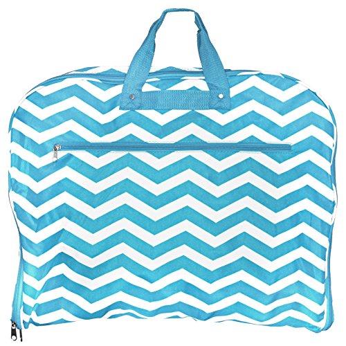 World Traveler 40 Inch Hanging Garment Bag, Blue White Chevron, One Size