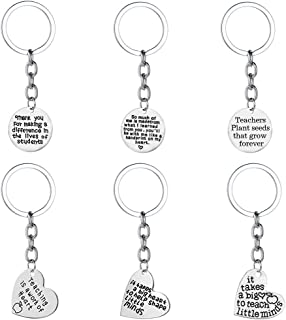 FineGood 6 pcs Teacher Appreciation Gifts Keychains, Heart & Circle Thank You Jewelry Keyrings Decoration Graduation Gifts...