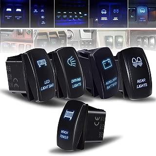 Rocker Switch 5PCS Laser Led Light Bar& Auxiliary& Winch & Driving&Rear&LED Lights Toggle Switch blue Fit ATV UTV Polaris RZR Can-am HONDA YAMAHA Can-AM Maverick JEEP SUV