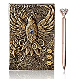 3D Vintage Phoenix Embossed Journal Writing Notebook with Diamond Pen Set, 100 Sheets, A5, Journal Travel Diary for Men Women
