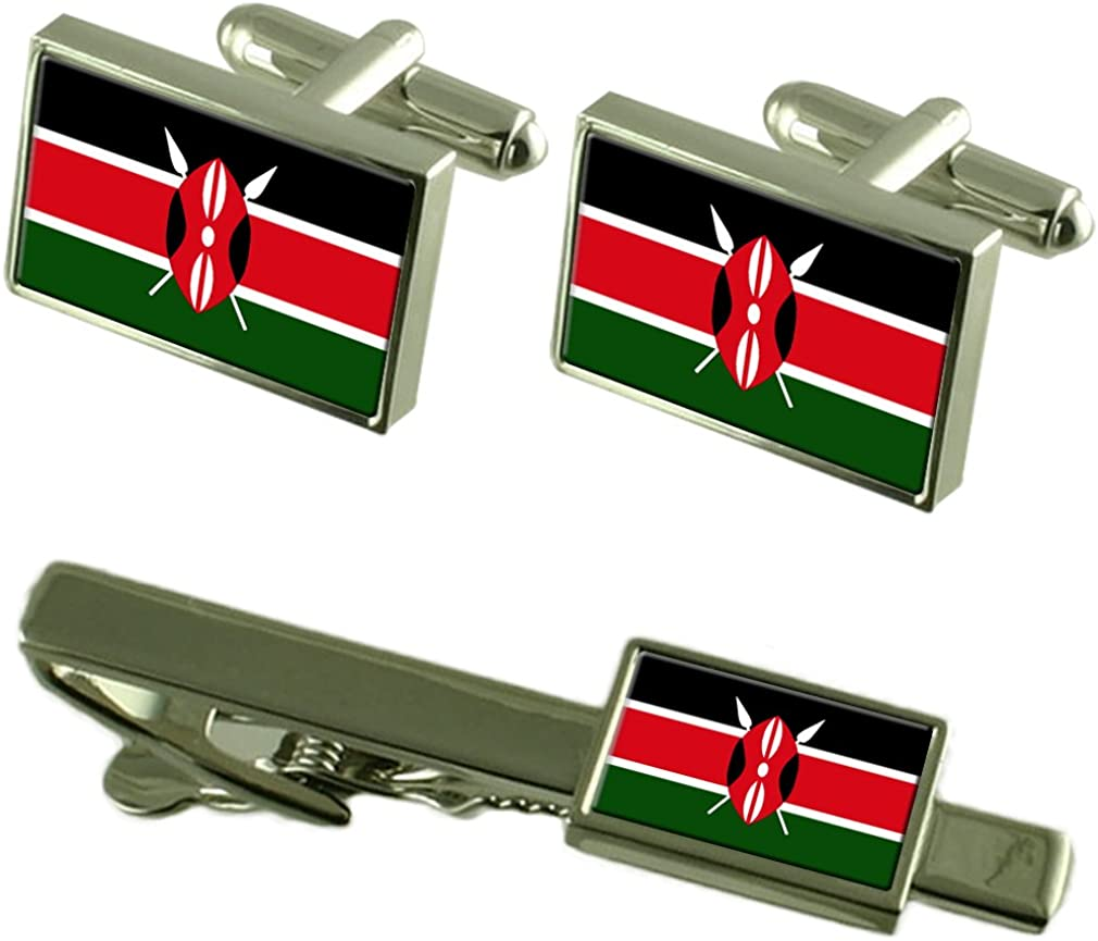 Select Gifts Kenya Ranking TOP12 low-pricing Flag Cufflinks Tie Clip Matching Gift Box Set