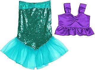 Freebily 2pcs Girls Sequined Little Mermaid Dress Ariel Costume Princess Bikini Fish Tail Swimsuit Halloween Party Cosplay