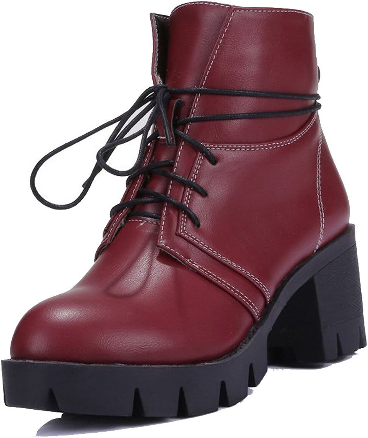 AmoonyFashion Women's Lace-up Kitten-Heels PU Solid Low top Boots