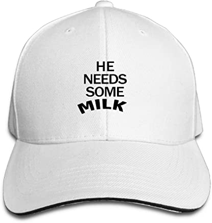 b785d5a960e BeiYou He Needs Some Milk Running Unisex Peaked Cap Baseball Hat White