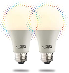 Bulbrite Solana 2-Pack A19 WiFi Connected Color Changing LED Smart Light Bulb, Frost
