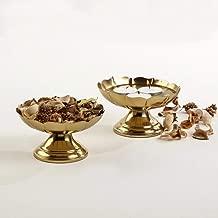 Home Centre Majestic Floral Table Accent Set of 2 Pcs - Gold
