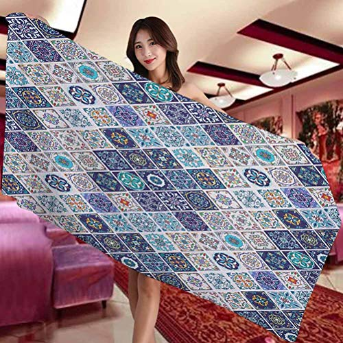Traditional Hotel and Spa Comfortable bath towel Portuguese Historical Mixed Azulejo Mosaic Tiles with Moroccan Ceramic Motifs Suitable for swimming pool Gym and bathroom W19 x L39 Inch Multicolor