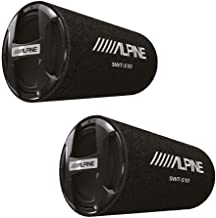 Alpine Bass Reflex Single 10 Inch Sealed Subwoofer Tube with Protective Grille (2 Pack)