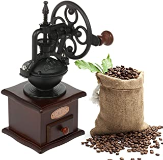 Numeo Manual Coffee Grinder, Antique Coffee Grinder, with Grinding Settings and Drawer Grip, Cast Iron Crank