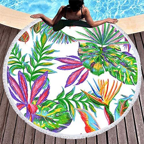 ZzheHou Simple Tropical Plant Big Green Leaves Round Beach Yoga Mat Shawl Tablecloth Picnic Blanket 150CMX150CM