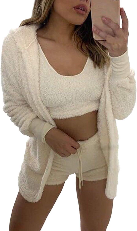 AOHITE Women's 3 Piece Fuzzy Fleece Outfits Sets Soft Sherpa Coat Jacket Coat and Crop Top Shorts Set