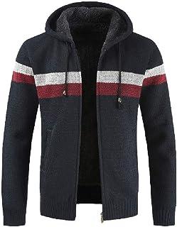 UJUNAOR Fashion Men's Autumn Winter Packwork Hooded Zipper Jacket Knit Cardigan Long Sleeve Coat
