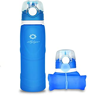silbyloyoe Silicone Water Bottle Foldable Collapsible Anti Leakage with Leak Proof Valve Bottles Travel Outdoor Sports Lig...