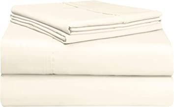 Pizuna Soft 500 TC Queen Sheets Set Cream, 100% Long Staple Cotton Hotel Quality Sheets, Ivory Cotton Satin Bed Sheets Que...