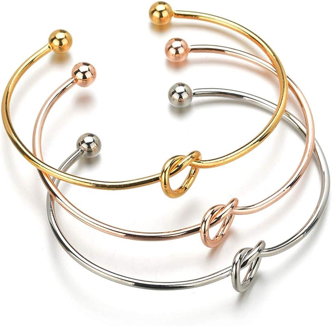 Albeads 4Pcs Love Knot Bangle Cuff Bracelets Simple Bridesmaid Bracelets for Women Girls Stretch Bracelets