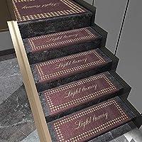長方形の滑り止め階段カーペット、赤い防音階段マット、3cmの縁取りで洗える接着剤のない自己接着階段マット、安全な縫い目、軽いリビング,13pc-75x26CM