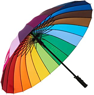 Variety To Go Rainbow Umbrella, 24K Color Wheel Umbrella Rainbow(Straight Handle)