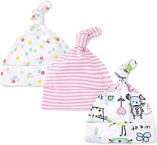 25fa236764992 Lacofia Lot de 3 Bonnet de bébé Naissance Chapeau en Coton pour Unisexe Bébé  Fille Garçon