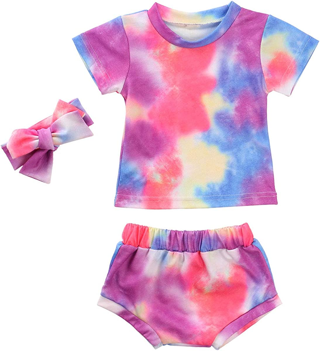 Toddler Infant Baby Girl Tie Dye Clothes T- Shirts Tops and Shor