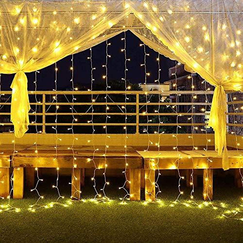 600 LED 6MX3M Externer glühender Vorhang IP44 wasserdichte Weihnachtsbeleuchtung 8 Übereinstimmungen Helles Zelt Äußere Warme Bill LED-Lichter für Weihnachtsgärten und Hochzeit-6x3m - warmweiß