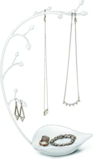 Umbra, White Orchid Jewelry Organizer and Necklace Holder with Built-In Dish for Rings, Earrings, and Bracelets