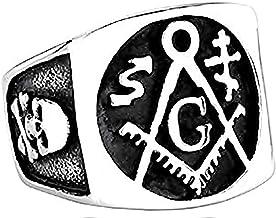 Vierkante ring zilver en zwarte meester vrijmetsel...