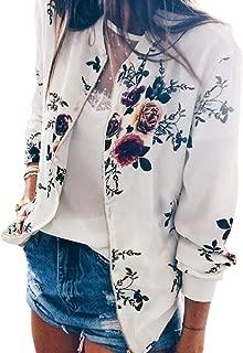 Energy Women's Long-Sleeve Stand Collar Zips Floral Weekend Outwear Jacket