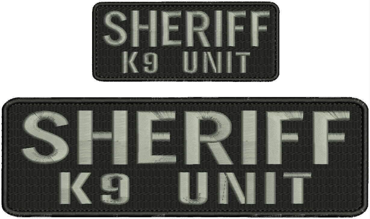 Sheriff k9 Unit Embroidery Patches 3x10 and 2x5 Hook on Back Bla