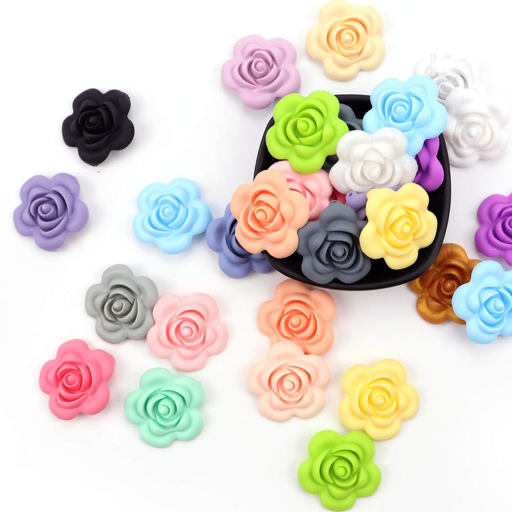 Weekjoey 20Pcs 40mm Colorful Soft Beads High Japan's largest assortment quality new Han Flower Rose Silicone