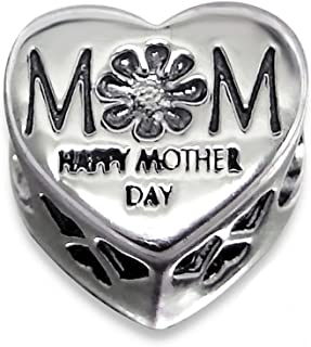 Sterling Silver Heart Mom Jeweled Bead