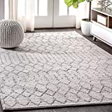 JONATHAN Y MOH101B-5 Moroccan HYPE Boho Vintage Diamond Cream/Gray 5 ft. x 8 ft. Area Rug, Bohemian, Easy Cleaning, For Bedroom, Kitchen, Living Room, Non Shedding