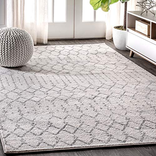 JONATHAN Y Moroccan Hype Boho Vintage Diamond, Bohemian, Easy Cleaning, for Bedroom, Kitchen, Living Room, Non Shedding Area Rugs, 8 X 10, Cream/Gray