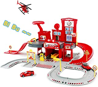 Toy Garage Play Set Race Track Elevator Cars Airplane Fireman Stem Learning Toy Vehicle Assembly Parking Lot Fire Station with Siren Lights Sounds for Kids Toddlers Boys Girls Age 3 4 5 6 7 Years Old